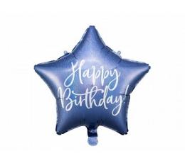 "Folija balons ""Happy Birthday"", zils hologrāfisks (40 cm)"