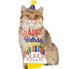 Folija balons - Kaķis ''Happy Birthday!'' (45 x 83 cm)