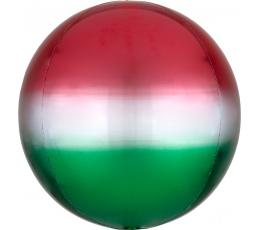 Folija balons-orbz, sarkans-zaļš ombre (38 cm)