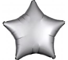 """Folija balons """"Platīna krāsas zvaigzne"""", matēta (43 cm)"""