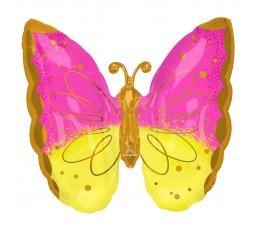 """Folija balons """"Rozā - dzeltens tauriņš"""" (63 x 63 cm)"""