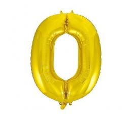 """Folija balons, skaitlis """"0"""",zelta krāsā (85 cm)"""
