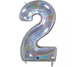 "Folija balons, skaitlis ""2"", hologrāfisks (66 cm)"