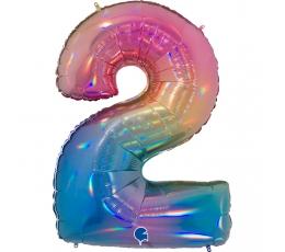 """Folija balons, skaitlis """"2"""", krāsains (102 cm)"""