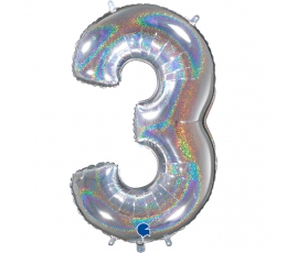 "Folija balons, skaitlis ""3"", hologrāfisks (66 cm)"