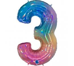 """Folija balons, skaitlis """"3"""", krāsains (102 cm)"""