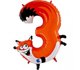 "Folija balons - skaitlis ""3 - Lapsa"" (102 cm)"