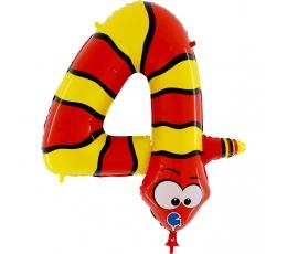 """Folija balons - skaitlis """"4 - čūska"""" (102 cm)"""