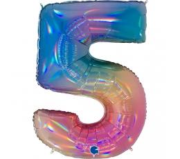 """Folija balons, skaitlis """"5"""", krāsains (102 cm)"""