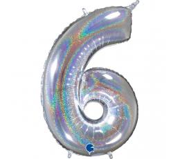 "Folija balons, skaitlis ""6"", hologrāfisks  (66 cm)"