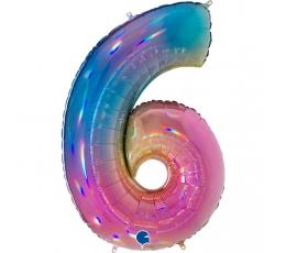 """Folija balons, skaitlis """"6"""", krāsains (102 cm)"""