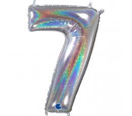 "Folija balons, skaitlis ""7"", hologrāfisks  (66 cm)"