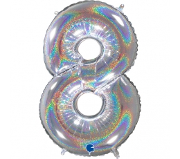 "Folija balons, skaitlis ""8"", hologrāfisks  (66 cm)"