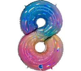 """Folija balons, skaitlis """"8"""", krāsains (102 cm)"""
