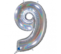 "Folija balons, skaitlis ""9"", hologrāfisks  (66 cm)"