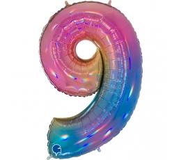 """Folija balons, skaitlis """"9"""", krāsains (102 cm)"""