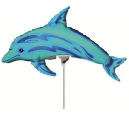 """Folija balons uz nūjiņas """"Delfīns"""" (15 x 35 cm)"""