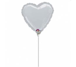 """Folija balons uz nūjiņas """"Sirds"""", pelēka (23 cm)"""