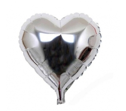 """Folija balons uz nūjiņas """"Sirds"""", sudraba (23cm)"""