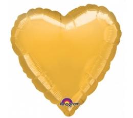 """Folija balons uz nūjiņas """"Sirds"""", zelta (23cm)"""