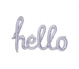 """Folija balons, uzraksts """"Hello"""", hologrāfisks"""