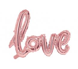 """Folija balons - uzraksts """"love"""", rozā - zelta (73 x 59 cm)"""