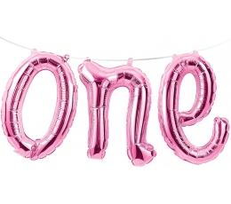 """Folija balons-uzraksts """"ONE"""" , rozā"""