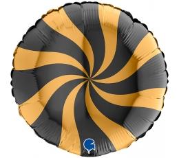 """Folija balons """"Virpulis"""", melns - zelts (46 cm)"""
