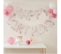 """Folija balonu komplekts """"Happy birthday"""" , caurspīdīgs ar rozā zelta  konfettī (35 cm)"""