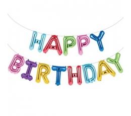 """Folija balonu komplekts """"Happy birthday"""", daudzkrāsains (35 cm)"""