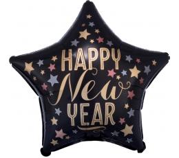 """Folijas balons - zvaigzne """"Laimīgu Jauno gadu"""", melna matēta (45 cm)"""