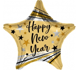 """Folijas balons - zvaigzne """"Laimīgu Jauno gadu"""", zelta (45 cm)"""