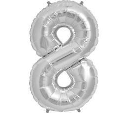 "Follija balons ""8"", sudraba (85cm)"