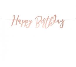 "Formīga virtene ""Happy Birthday"", rozā zelta krāsā (62 cm)"