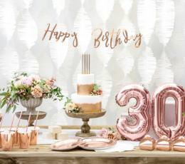 "Formīga virtene ""Happy Birthday"", rozā zelta krāsā (62 cm) 1"
