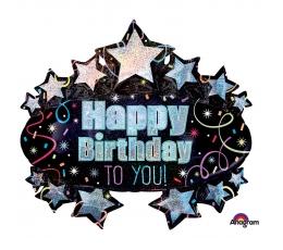 "Folija balons ""Happy Birthday stars"" (78 x 71 cm)"