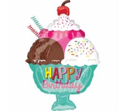 "Folija balons ""Saldējums -  Happy Birthday"" (38 x 58 cm)"