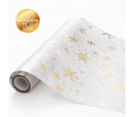 """Galda celiņš, auduma """"Zelta sniegpārslas"""" (28 x 300 cm )"""