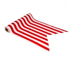 Galda celiņš, sarkans - balts, strīpains (28 cmx5 m)