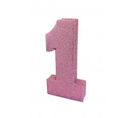"""Galda dekorācija """"1"""" rozā spīdīgs (20 cm)"""