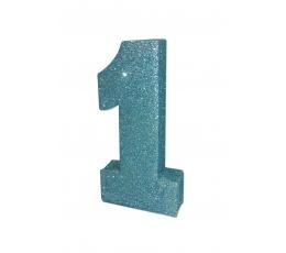 """Galda dekorācija """"1"""" zila, spīdīga (20 cm)"""