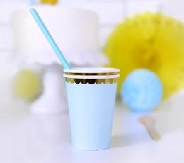 Glāzītes, gaiši zilas ar zelta maliņu (6 gab/ 220 ml) 1
