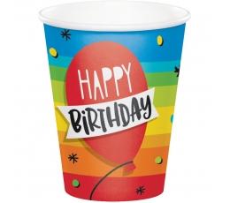 """Glāzītes """"Happy birthday"""" (8 gab./266 ml)"""