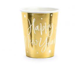 """Glāzītes """"Happy New Year"""", zelta (6 gab/220 ml)"""