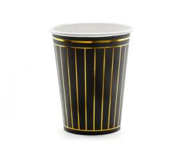 Glāzītes, melnas ar zelta svītrām (6 gab/260 ml)