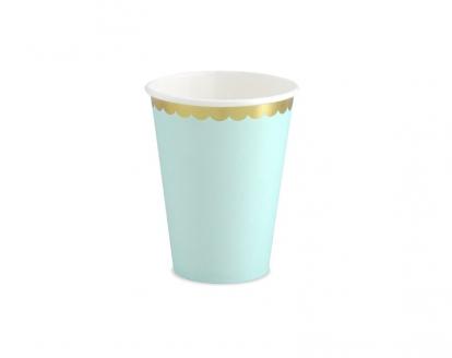 Glāzītes, piparmētras krāsās, ar zelta maliņu (6 gab/ 220 ml)