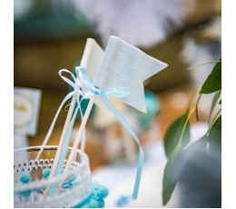 Irbulīši-karodziņi ar lentītēm, zili auduma (6 gab/20 cm)