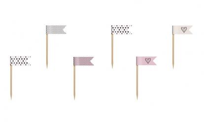 Irbulīši-karodziņi ,rozā-melni (6gab)