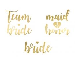 """Īslaicīgie tetovējumi """"Team Bride"""", zelta krāsā (13 gab.)"""