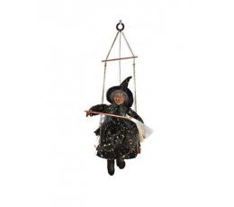 """Karināma dekorācija """"Ragana ar slotu"""" (40 cm)"""